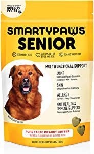 Dog Vitamin and Supplement: Glucosamine, Probiotics for Gut Health & Immune Support, Fish Oil For Dogs, Chondroitin, MSM for Hip & Joints, Turmeric, Chewable Multivitamin by SmartyPaws (60 count)