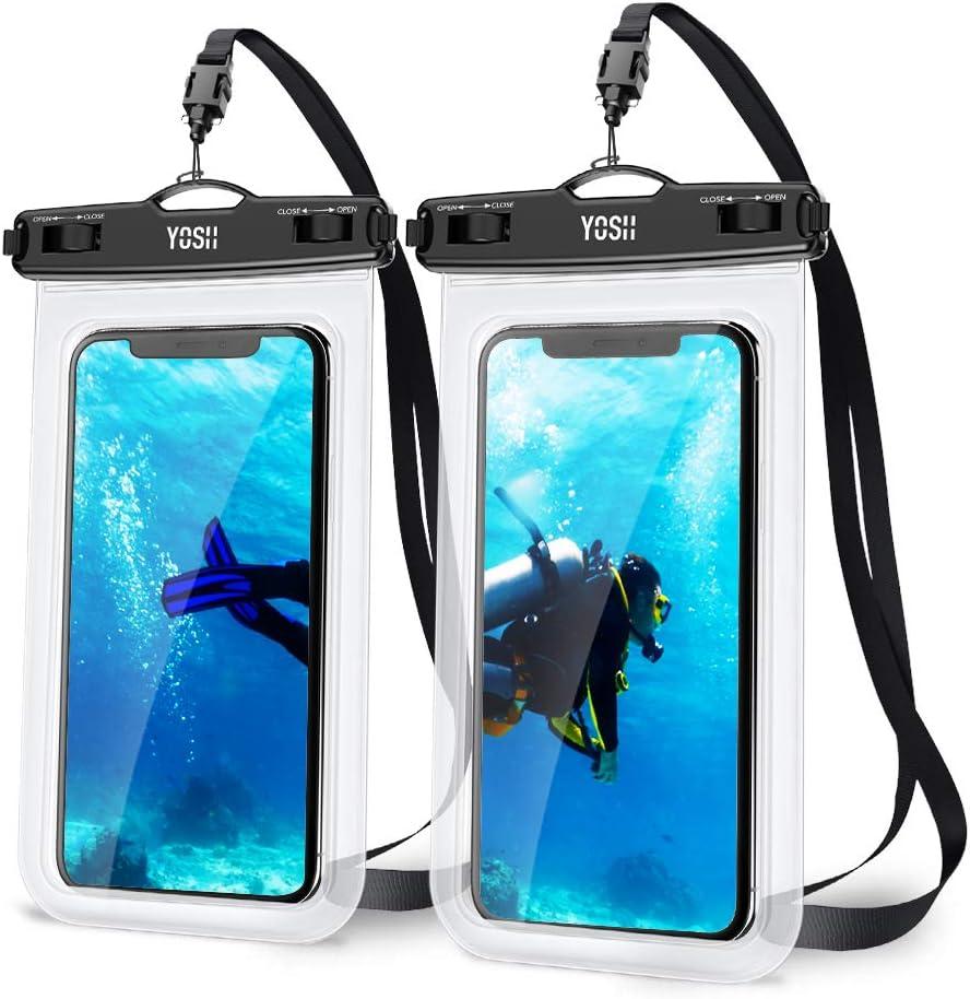 YOSH Funda Impermeable Móvil Universal 2 Unidades, IPX8 Bolsa Impermeable Móvil Funda Sumergible para iPhone XR XS X SE 11 8 7 6s Plus Galaxy S10 Xiaomi Note 8 Huawei P30 BQ Aquaris hasta 7 Pulgadas