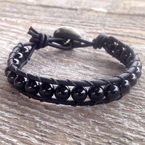 Black Tourmaline Beaded Leather Wrap Bracelet Silver Cuff With Om Aum