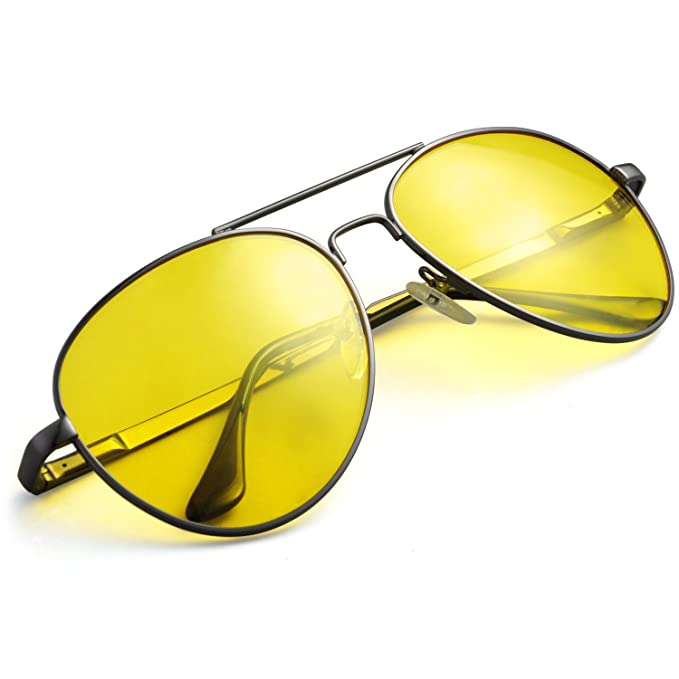 b492f3db6841 Image Unavailable. Image not available for. Color: TINHAO Night Driving  Aviator Glasses for Men & Women Anti Glare Polarized Sunglasses
