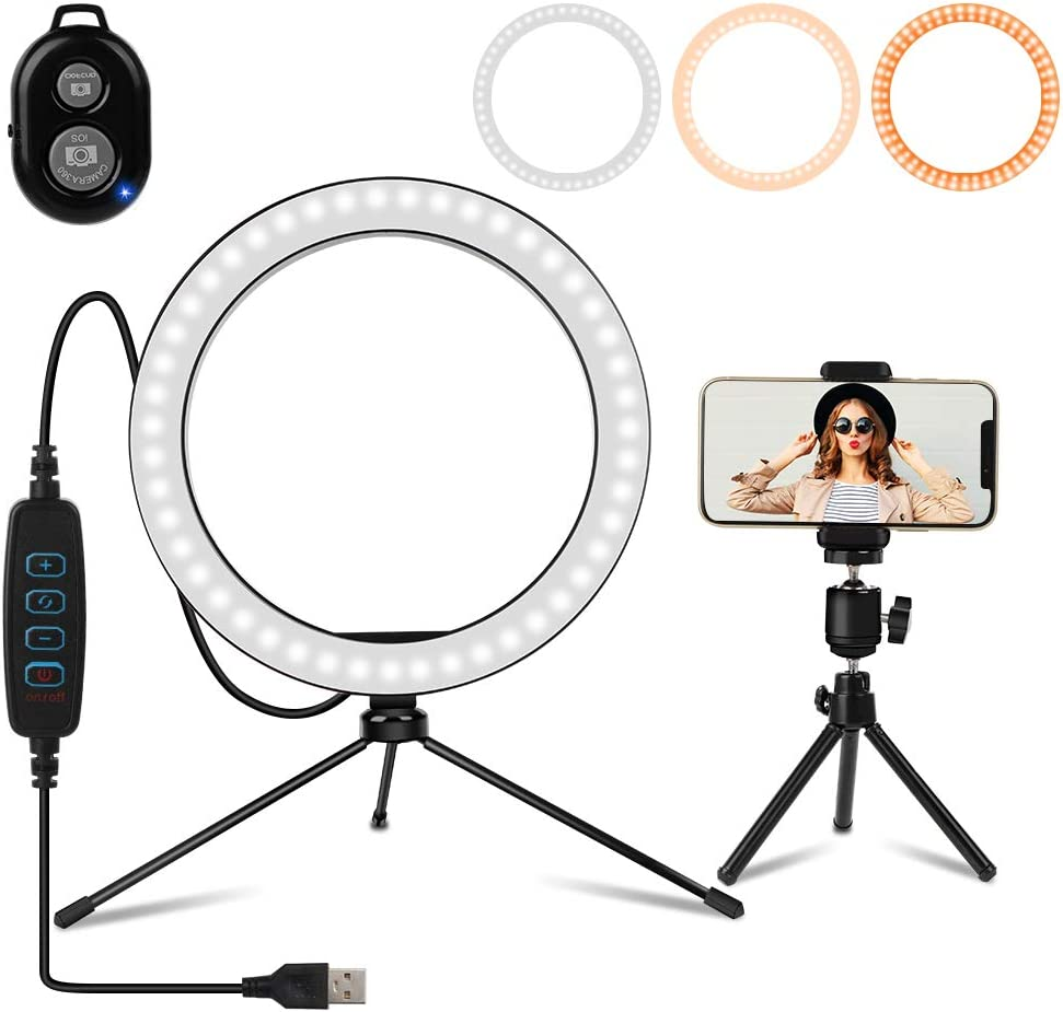 "10.2"" Selfie Ring Light with Tripod Stand, Phone Holder and Bluetooth Remote, Adjustable Circle Light LED Lighting for Makeup/YouTube Video/Photography/Camera/Vlogging Compatible with iPhone Android"