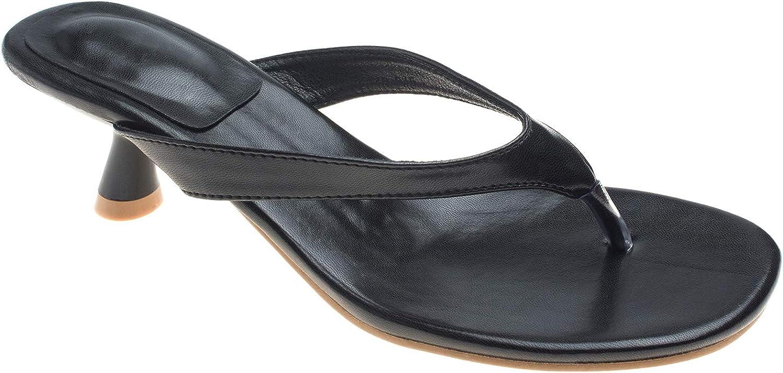 AnnaKastle Womens Slide Mule Kitten Heel Thong Sandal Shoes