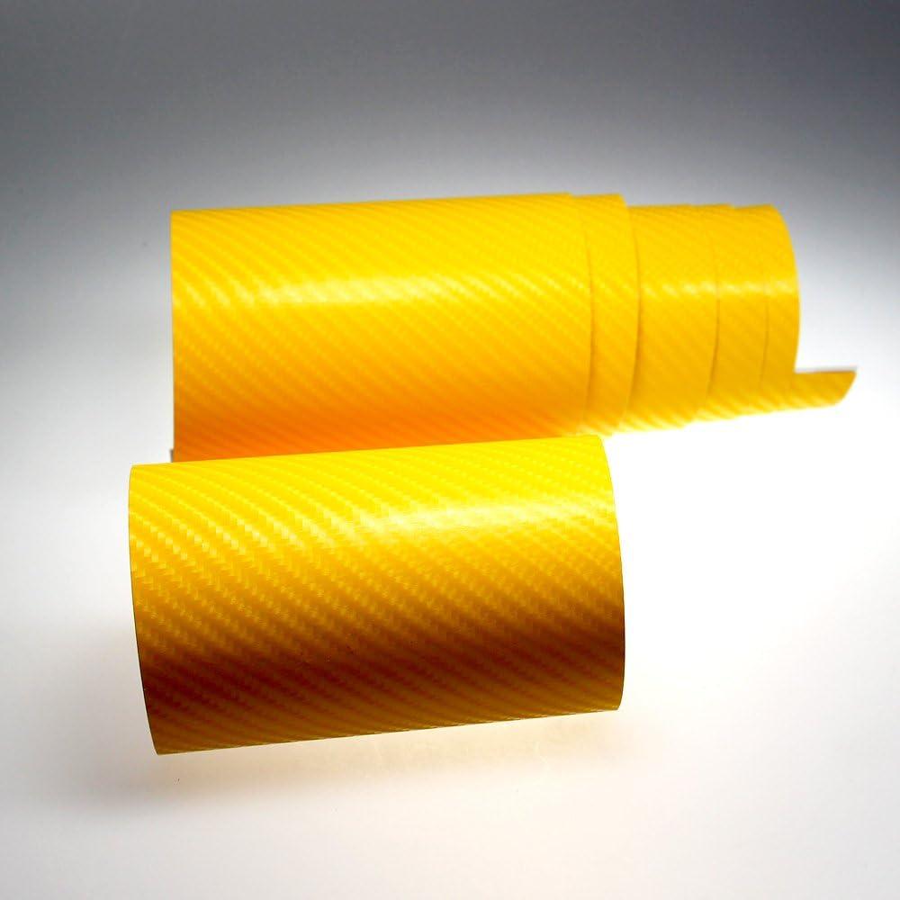 Tiptopcarbon 8 55 M Autofolie 4d Carbon Gelb 152cm Breit Blasenfrei Mit Luftkanäle 3d Flex Selbstklebende Folie Auto Folierung Küche Haushalt