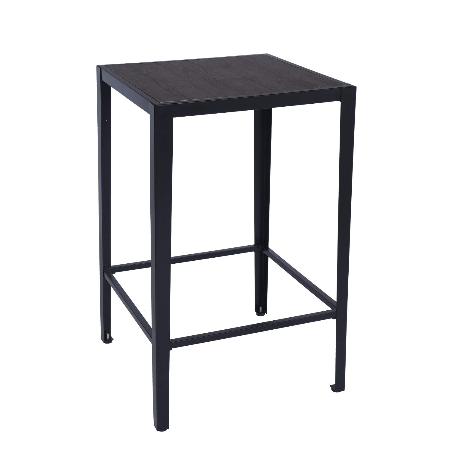 GreenForest Bar Table Modern 38.4-Inch Height Square High Top Pub Dining Table with Metal Legs, Walnut by GreenForest