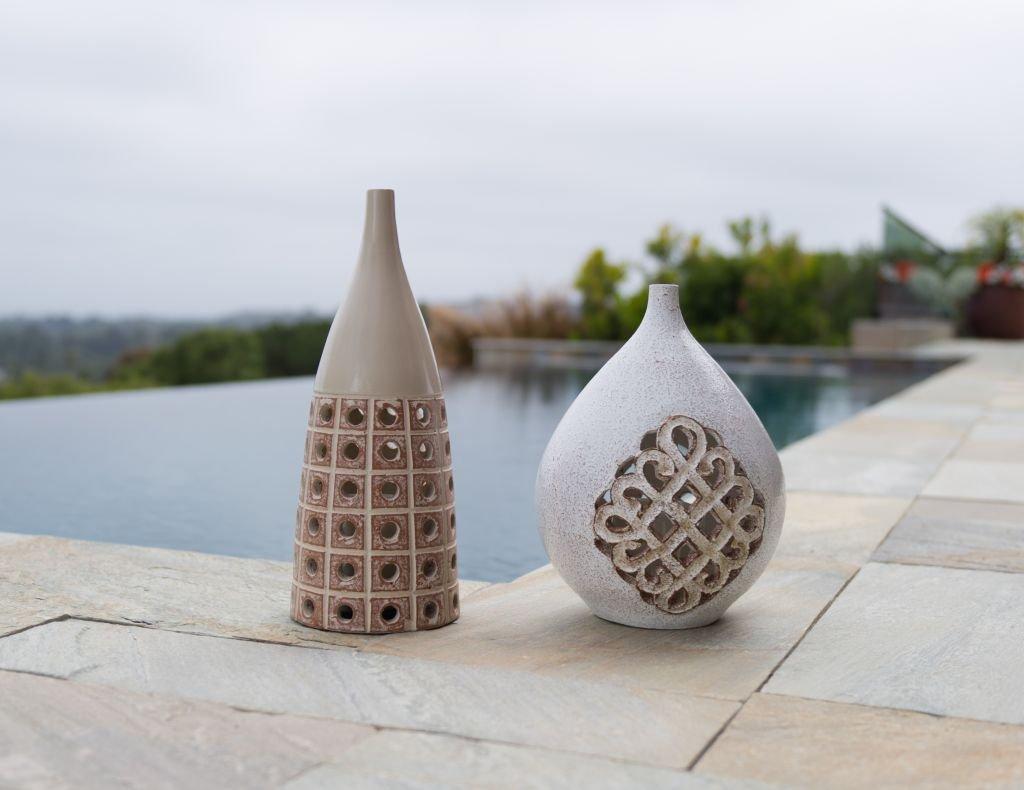 Beige Kouboo Tangier Glazed Terracotta Lantern for 3 inch Pillar Candle