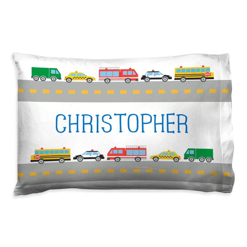 ChalkTalkSPORTS Personalized Kids Pillowcase   Cars with Custom Name