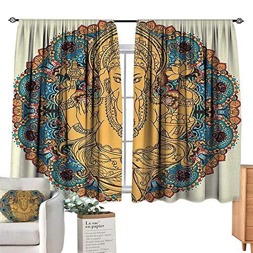 RuppertTextile Sliding Curtains Bohemian,Vintage Boho Elephant Head Eastern Figure and Lotus Flower Axe Mandala Medallion,Orange Yellow Suitable for Bedroom Living Room Study, etc.72 Wx63 ()