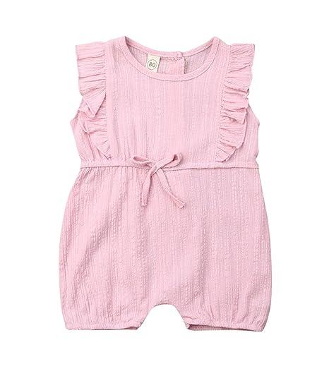 52f59010e Urkutoba 0-3T Infant Baby Girl Romper Bodysuits Cotton Linen Fibre Flutter  Sleeve One-