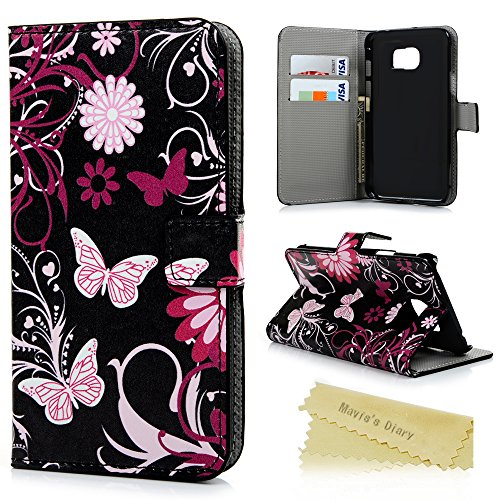S7 Active Case,Samsung Galaxy S7 Active Case - Maviss Diary Wallet Colorful Print Premium PU Leather with Kickstand Snug Fit Soft TPU Inner Cover & Magnet Clip & ID/Credit Card Holders - Butterfly