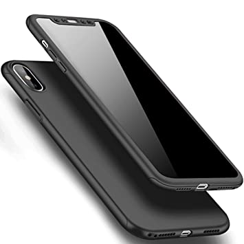 SainCat Funda iPhone X, 360 Grados Cobertura para Ambas Caras Carcasa 3 en 1 Ultra-Delgado PC Cubierta Funda iPhone X Slim Fundas para iPhone X-Negro