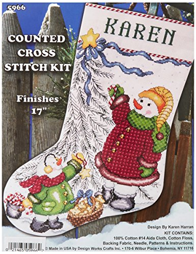 (Tobin DW5966 14 Count Trim a Tree Snowman Stocking Counted Cross Stitch Kit, 17-Inch)