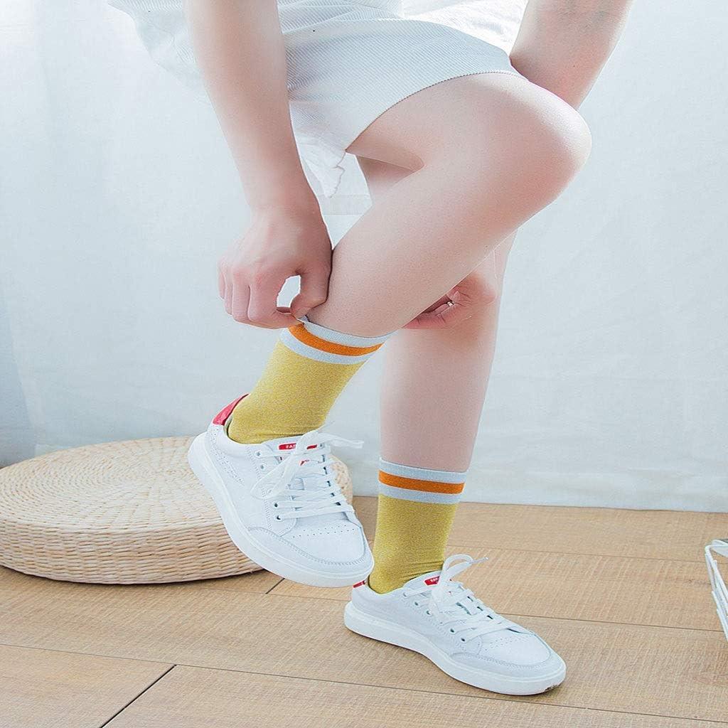Our Peaches 3 paia di calze da donna a met/à polpaccio autunnali primaverili eleganti calzini di seta lucenti eleganti calzini a righe di colore a contrasto retr/ò
