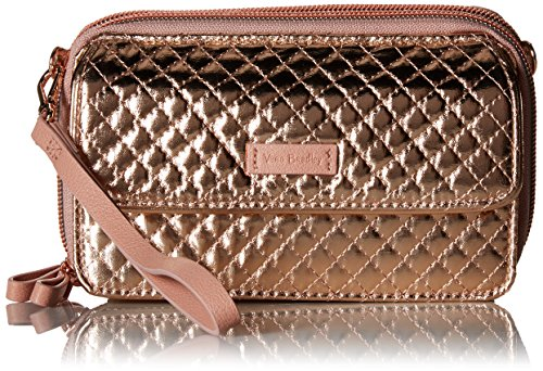 Vera Bradley Iconic RFID All in One Crossbody, Foiled Cotton, rose gold shimmer