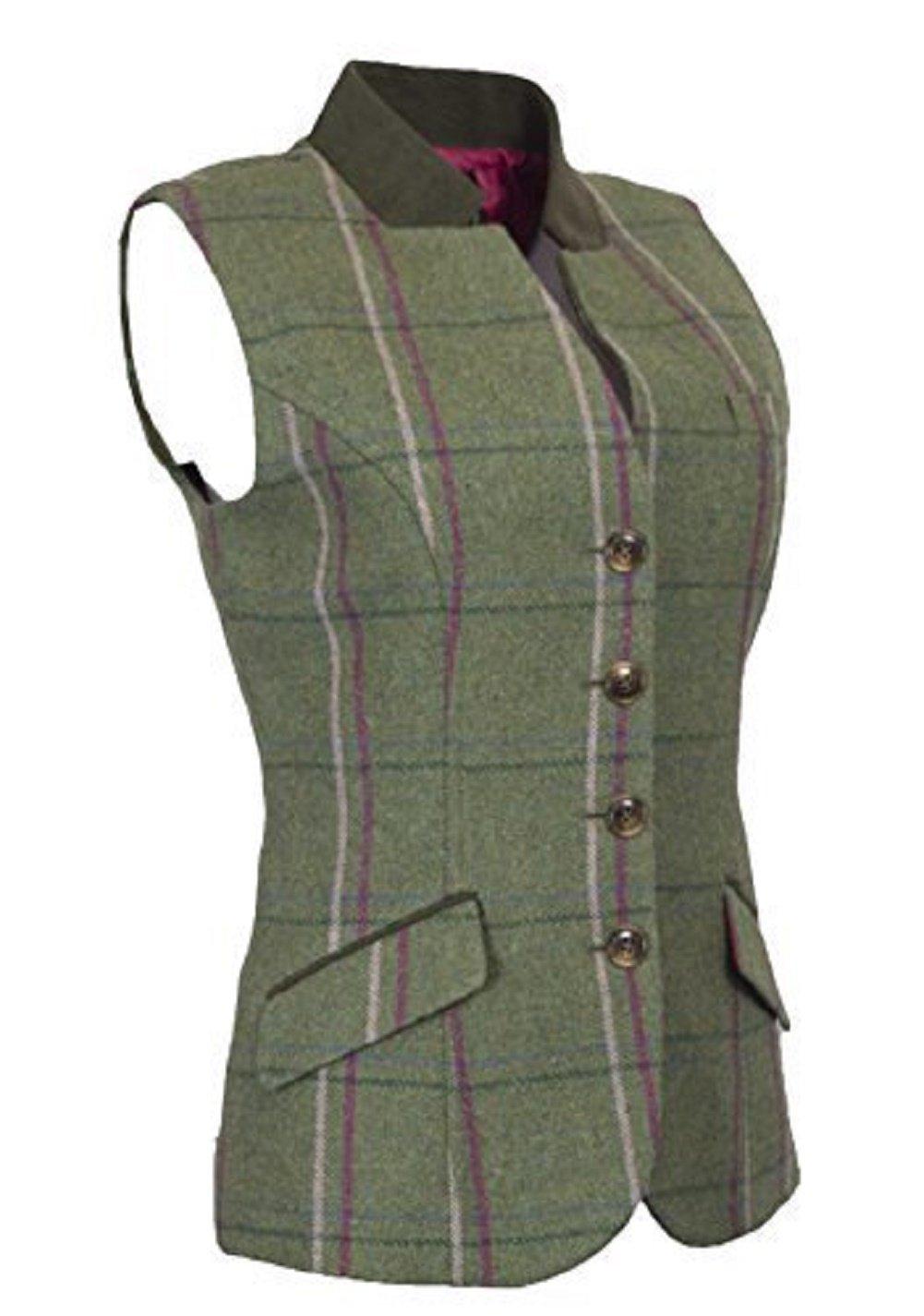 Walker & Hawkes - Ladies Tweed Margate Waistcoat Vest, Back Belt - Pink Stripe - US 10 (UK 14)