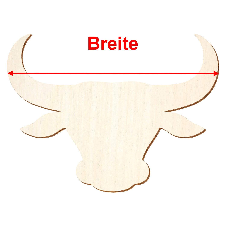 Holz Bullenkopf - 3-50cm 3-50cm 3-50cm Breite - Basteln Deko, Pack mit 25 Stück, Größe 18cm B07PZDDHCF | Elegant Und Würdevoll  838ffa