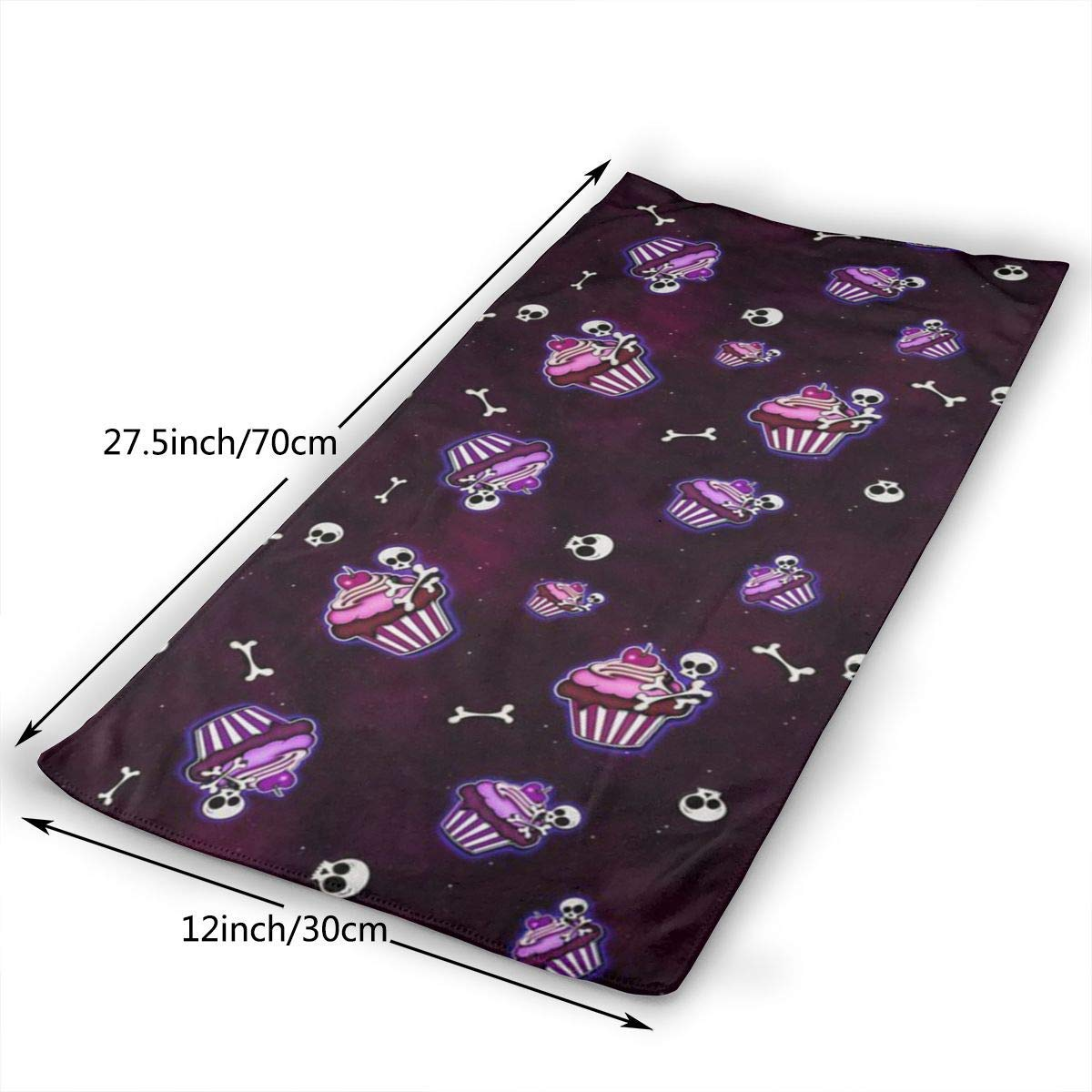 ewtretr Prime Torchons De Cuisine,Bones and Cupcakes in Space Microfiber Beach Towel Large 11.8X27.5 Towels Best for Outdoor Sports Quick Drying and Super Absorbent Technology Travels