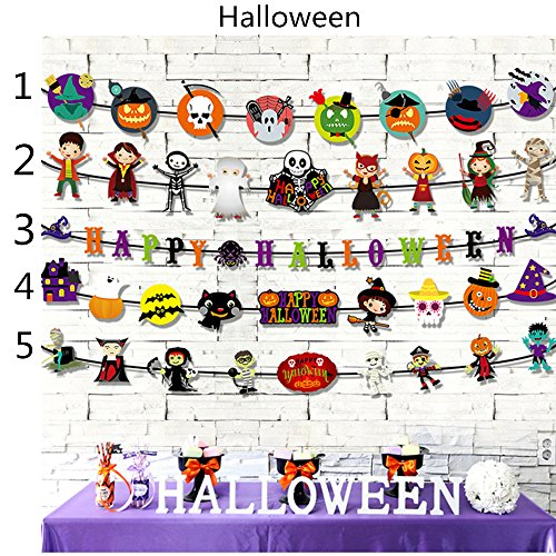 HC.CT Halloween Decorations Ghosts Doll Pendants,Decorative Elements of Pumpkins, Ghosts and Spiders,for Home,Bars,KTV,Supermarket Decorations(5 PCS) for $<!--$14.99-->