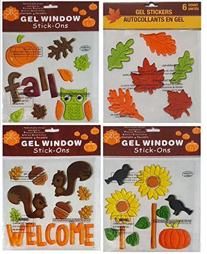 Fall Decorations - Window Gels with Fall Leaves, Owl, Pumpkins, Sunflowers, Squirrels, Acorns, and more – Bundle of 4 Sheets