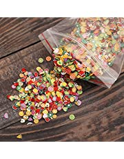 AKOAK 1000 Pcs/Pack Clay 3D Fruits Slices Nail Art Decorations - Mixed Color,Shape & Size