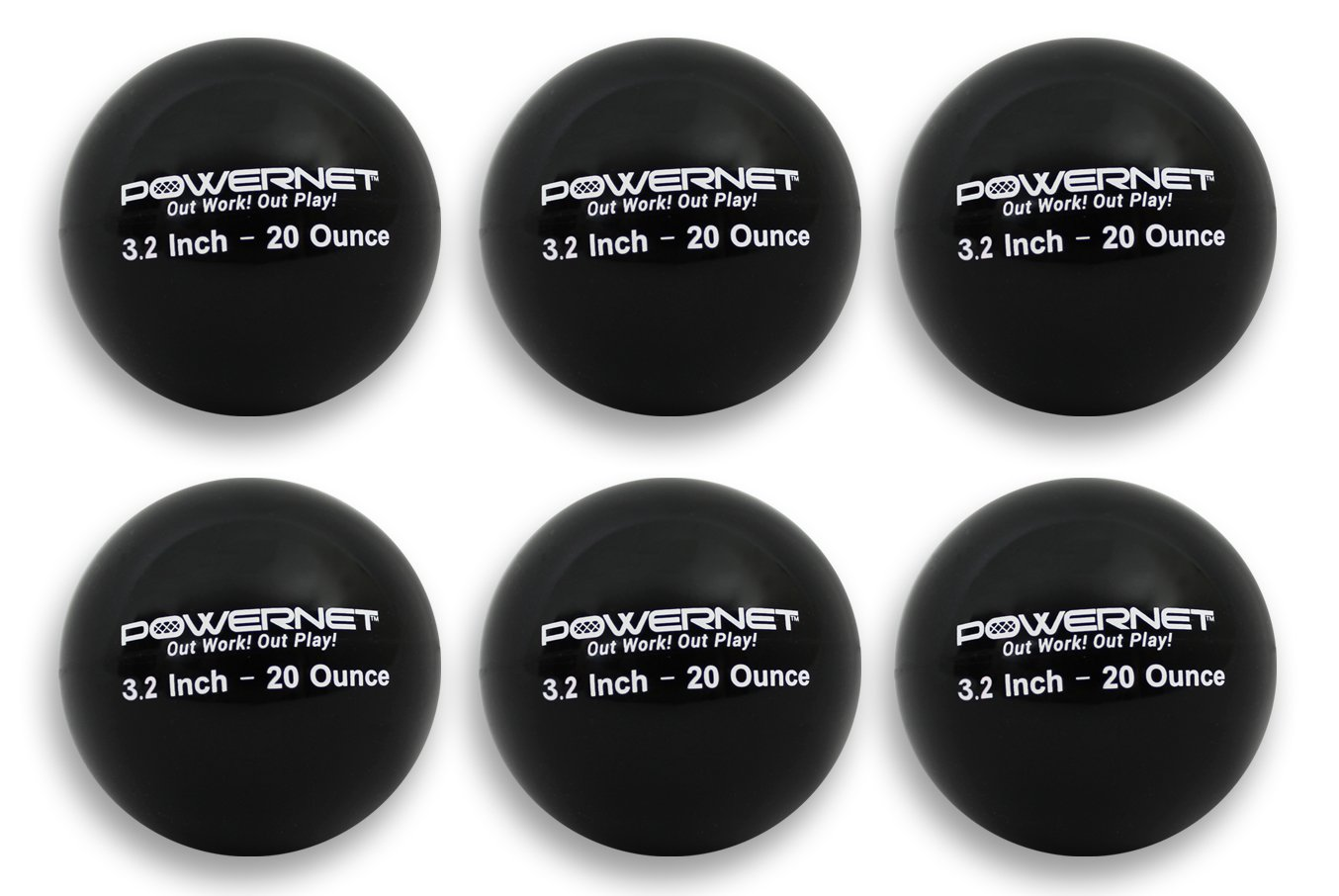 PowerNet 3.2'' Weighted Hitting Batting Training Balls (6 Pack) | 20 oz Black | Build Strength and Muscle | Improve Technique and Form | Softball Size | Enhance Hand-Eye Coordination by PowerNet