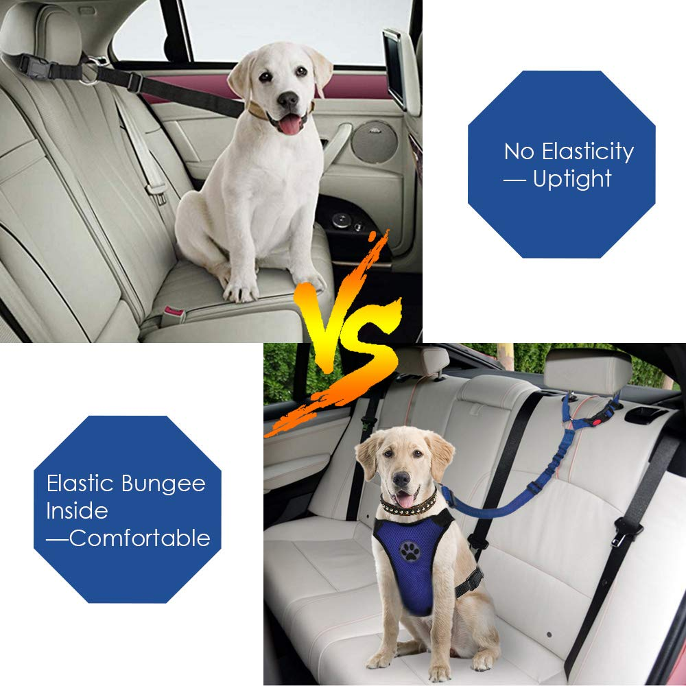 SlowTon Dog Seatbelt 2 Pack Pet Car Seatbelt Headrest Restraint Adjustable Puppy Safety Seat Belt with Elastic Bungee and Reflective Stripe Connect with Dog Harness