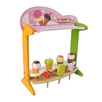 Toyvian La Tienda de Madera del Puesto de Helados pretende Jugar al Carrito de Helados para niños, niños pequeños: Amazon.es: Hogar