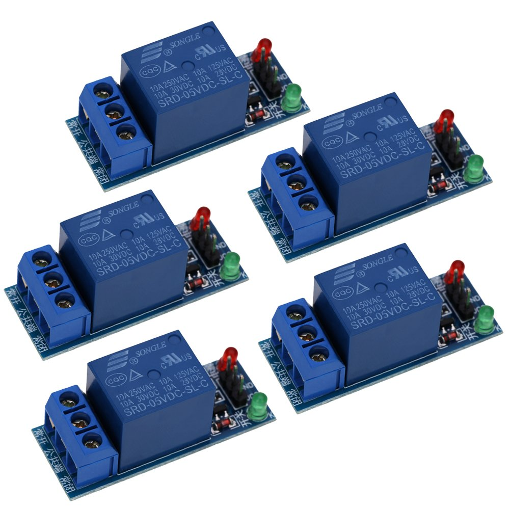 YouN 5Pcs 1-Channel 5V Relay Module Shield for Arduino 1280 2560 ARM PIC AVR DSP