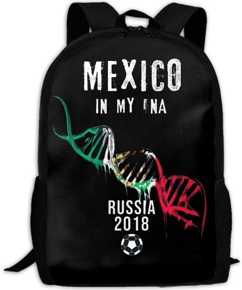 N/A NA Mexico DNA Camisa Mexicana Impresión de Fútbol Personalizada Casual Mochila Mochila Multipropósito Viaje Mochila: Amazon.es: Deportes y aire libre
