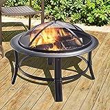 Peaktop - CU297 Outdoor Round Steel Wood Burning Fire Pit 26-inch - Black
