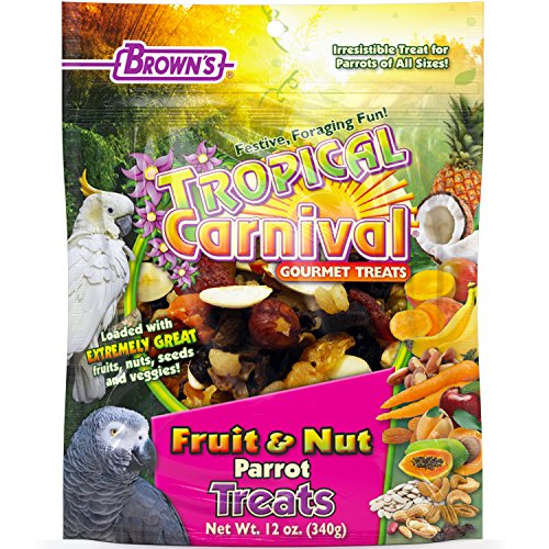 - F.M. Brown's Tropical Carnival Fruit & Nut Parrot Treat with Natural Fruits, Nuts, Seeds and Veggies, 12-oz Bag - Excellent Reward for Training Parrots of All Sizes