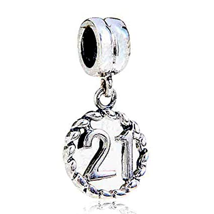 21st Birthday Celebration Charm Bracelet Bead - Sterling Silver 925 - Pink Crystals - Gift boxed gTtyBK80DS
