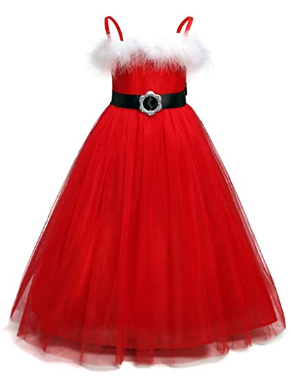 3970c92f9f2f3 QZ White Feather Santa Baby Christmas Tutu Dress Kids Girls Red Fluffy Ball  Gown New Year