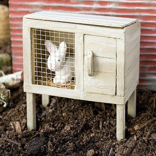 Miniature Fairy Garden Bunny Hutch With Rabbit