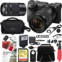 Sony a6500 4K Mirrorless Camera with 18-135mm & 55-210mm Lens (Black) ILCE-6500M/B with Carry Case 64GB SDXC Memory Card Pro Photograpy Bundle
