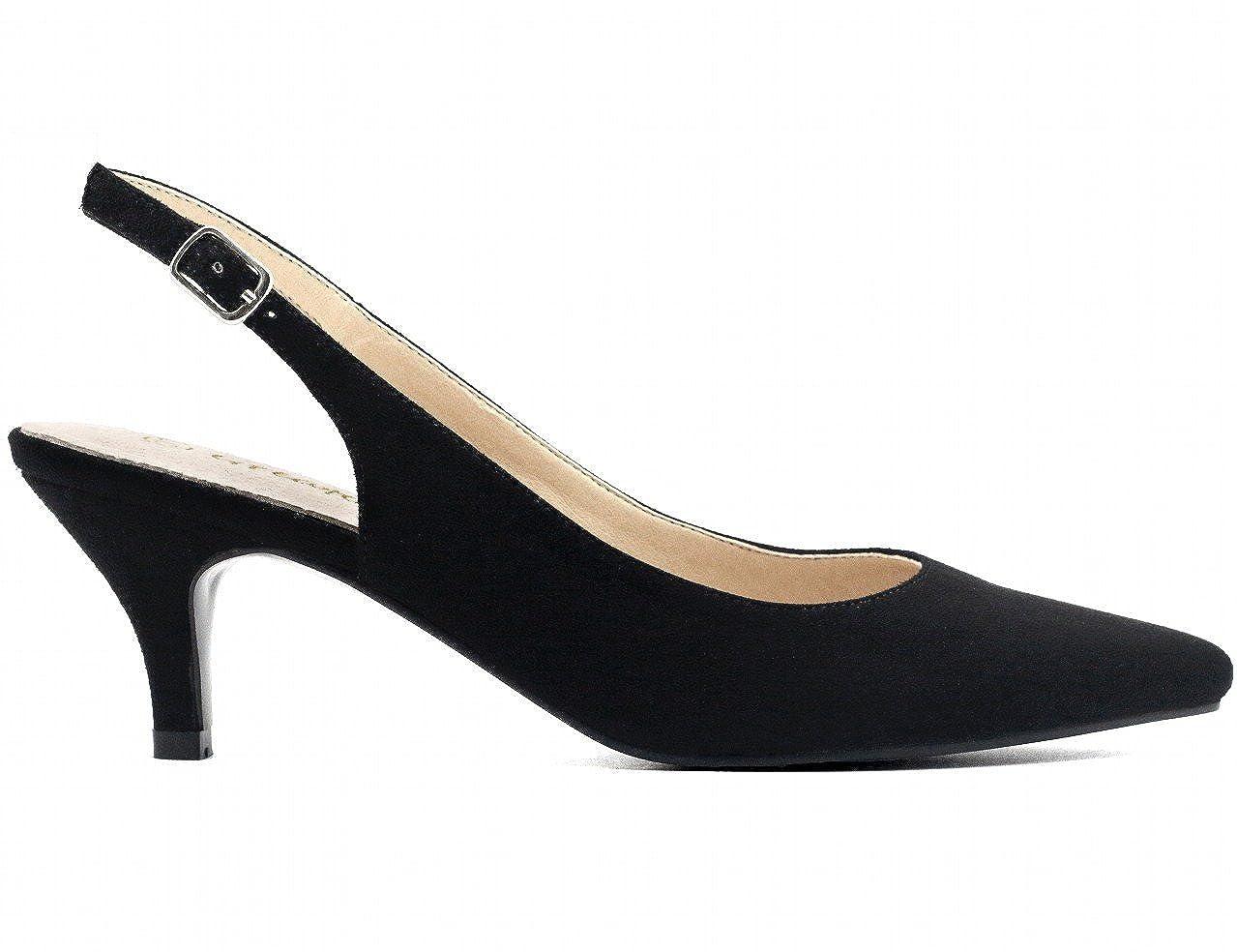 a58572fa4d35d3 Greatonu Womens Pointed Toe Slingback Dress Court Shoes: Amazon.co.uk: Shoes  & Bags