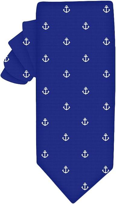 Corbata estrecha navy con anclas blancas | 5 años de garantía ...