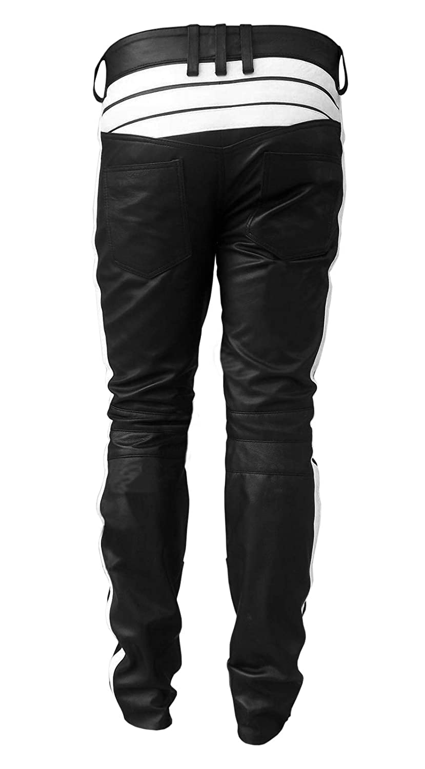 Mens Real Black Cow Leather Jeans Motorcycle Bikers Jeans Pants Trouser