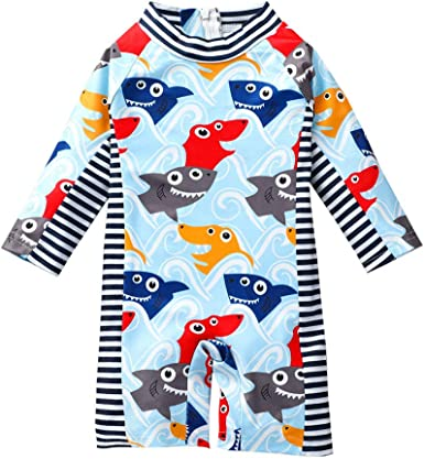 Baby Boys Beach One-Piece Dinosaur Swimsuit Full Body Rash Guard Swim Suit Coverall UPF 50+