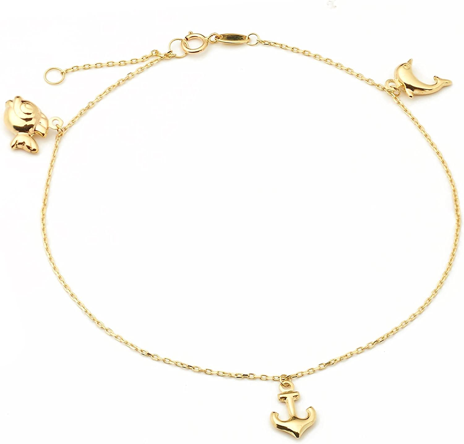 14K Solid Yellow Gold Heart Sun Moon Dolphin Ribbon Bracelet Fish Polished Charm Rolo Chain Link
