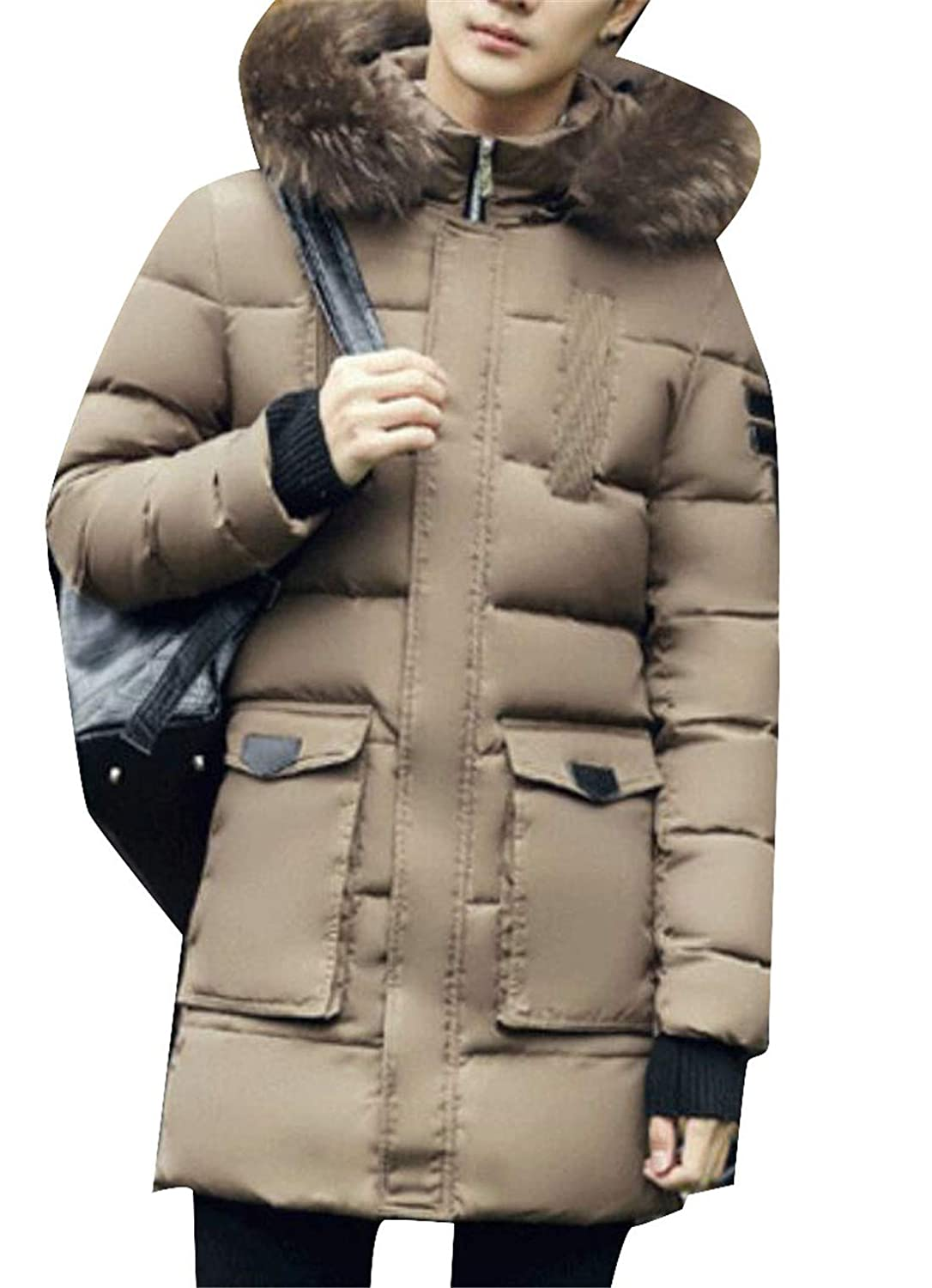 Nanquan Men Faux Fur Hooded Down Quilted Parkas Puffer Jacket Coat