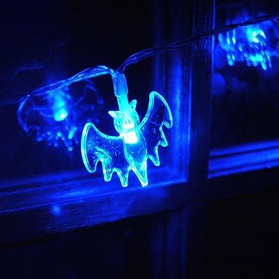 à piles Halloween Bat Fée Guirlande lumineuse avec 20LED Bleu on/scintillants Holloween fête fenêtre Porte Décor de Noël