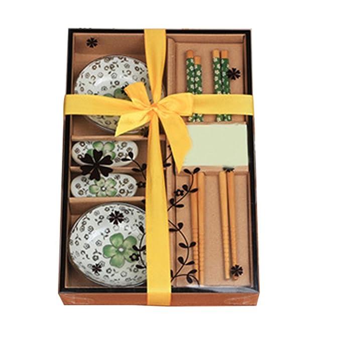 Genmine® – Vajilla japonesa de sushi, de cerámica, para dos personas, con cuencos para salsas, en caja de regalo, colores rojo, verde y azul: Amazon.es: ...