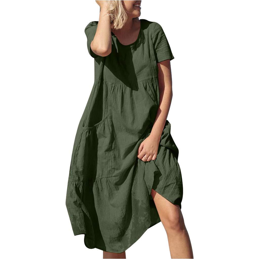 Bravetoshop Women Maxi Dresses,Summer Crew Neck Short Sleeve Pockets Cotton Linen Loose Beach Casual Dress(Green,XXXL) by Bravetoshop - dress
