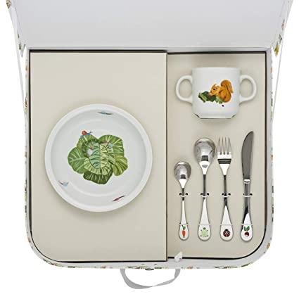 Degrenne 231762 amigos du potager maletín con plato hondo redondo + taza + 4 cubiertos,
