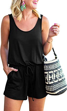 FeelinGirl Womens Summer Casual Off Shoulder Short Sleeve Loose Jumpsuit Rompers with Pockets