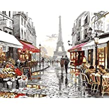 YEESAM ART New Paint by Numbers for Adults Children - Eiffel Tower Street View 16*20 inches Linen Canvas - DIY Digital Painting by Numbers Kits on Canvas Junior Kids - Wall Art Artwork Landscape Paintings for Home Living Room Office Pictures Decor Decorations Gifts Diy Paint by Numbers Diy Canvas Kit for Advanced Seniors (without frame)