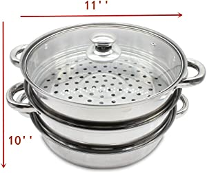 3 Tier Steamer Pot Set Steaming Cookware + Glass Lid, 11 Inch Diameter, Stainless Steel Kitchen Cooking Tool