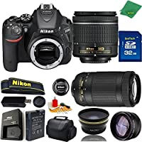 Great Value Bundle for D5500 DSLR – 18-55mm AF-P + 70-300mm AF-P + 32GB Memory + Wide Angle + Telephoto Lens + Case