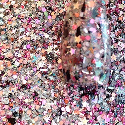 Iridescent Peach (Custom & Fancy Approx 0.5 Teaspoon of Small Nail Art Glitter Confetti Made of Premium Mylar w/ Subtle Elegant Sparkly Peach Tone Iridescent Shimmer Dots Design [Pink, Tan, Black & Silver Color])