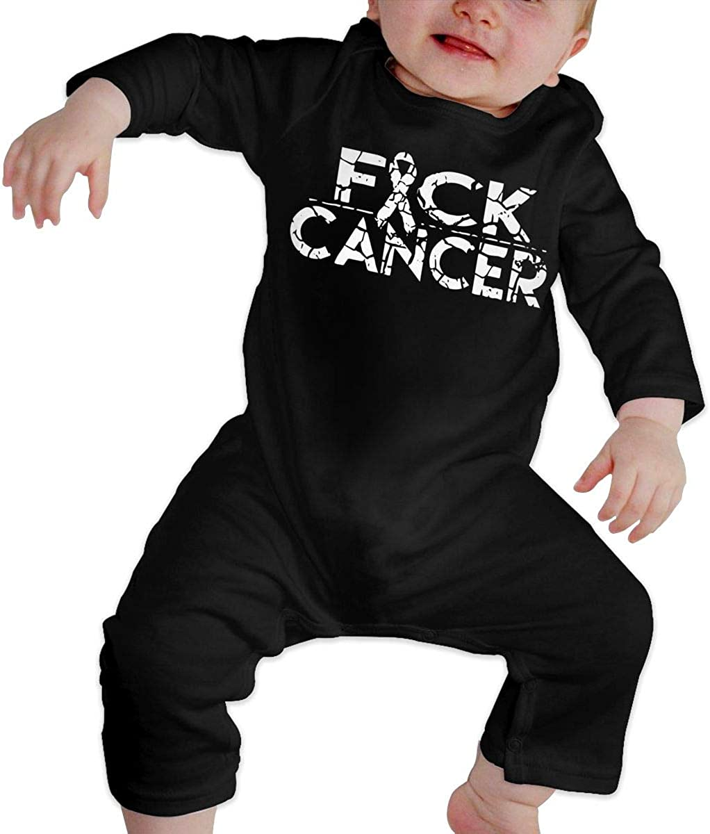 YELTY6F Fuck Cancer Printed Newborn Infant Baby Boy Girl Bodysuit Long Sleeve Outfits Black